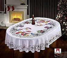 Groß Weihnachten Tischdecke mit Santa Muster 149,9x 299,7cm (150cm x 300cm/weiß/oval/Vater Weihnachten Muster