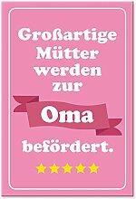 Großartige Mütter werden zur Oma befördert (rosa 20 x 30 cm), Geschenk für werdende - frisch gebackene Omas, Süße Geschenkidee Geburt von Enkel für Großmutter - Enkelsohn, Enkeltochter frisch geboren