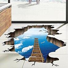 Große 3d Blue Sky Wandaufkleber Brücke Boden
