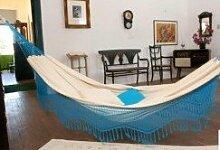 Große Baumwoll Hängematte–Cremefarben mit blauen Fransen