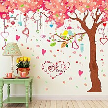 Große Cherry Blumen Bäume Herz Formen Wand Aufkleber Home Aufkleber PVC Wandmalereien, Vinyl, Papier, House Dekoration Tapete Wohnzimmer Schlafzimmer Kunst Bild DIY für Kinder Teen Senior Erwachsene Kinderzimmer Baby