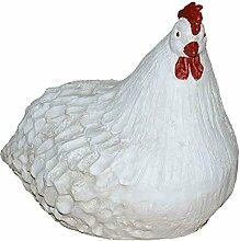Große Dekofigur Huhn aus Keramik weiß Breite 38 cm Dekotier Tierfigur Skulptur