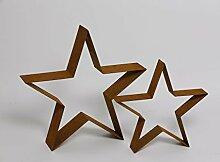 große dekorative stimmungsvolle Weihnachts-Deko Gartendeko Stern Silhouette Stern Metall rostig Preis für 2- er Satz