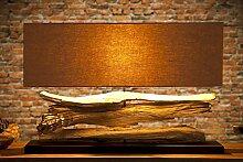 Große Design Lampe RIVERINE beige Treibholz