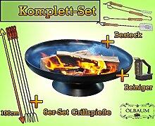 Große FEUERSCHALE GRILL (je nach Wahl mit 4 - 8 - 12x Grillspiessen) mit Zubehör grillzubehör MASSIV-STAHL mit Zubehör-SET Reinigungsbürste-Besteck und 8 Spieße