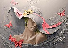 Große Fototapete, Gips Frau & Schmetterlinge