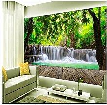 Große Fresko Holzbrett Wald Wasserfall