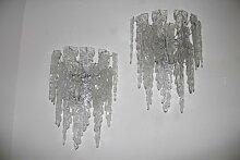 Große Glas Wandleuchter von Mazzega, 1970er, 2er