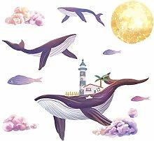 Große Größe Whale Lighthouse Wandaufkleber für