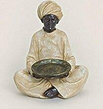 Große indische Figur Inder Mann mit Teelichthalter 15 cm x 13 cm x 20 cm Dekoration Figuren Feng Shui