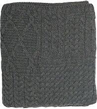 Große Irische Aran Wolldecke aus Merinowolle
