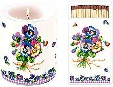 Große Kerze 12 cm Höhe und lange Streichhölzer