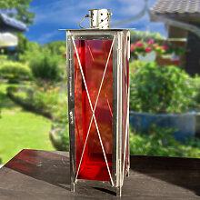 Große Laterne aus Eisen - Rotes Glas - Windlicht,