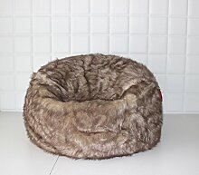 Große Lush & Soft Tundra Wolf Webpelz Sitzsack, Cloud Chair, Pouf, Bean Bag Cover 110 cm x 60 cm