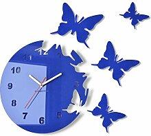 Große moderne Wanduhr Schmetterling Blau rund