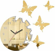 Große moderne Wanduhr Schmetterling Goldspiegel