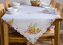 Große Ostern Tischdecke weiß, mit Orange Muster