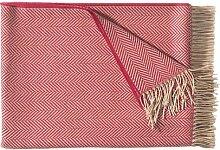 Große rot-beige Wolldecke mit Streifen im