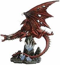 Große rote Drachen Figur - Red Fury fliegend -