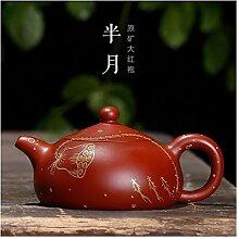 Große rote Teekanne mit Lotus-Motiv und einer