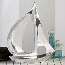 Große Skulptur XXL Boot Metallobjekt Schiff Alu