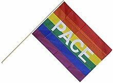 Große Stockflagge / Stockfahne Regenbogen mit