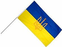 Große Stockflagge / Stockfahne Ukraine mit Wappen