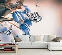 Große Tapete Tulpen Schmetterlinge Hellblaue