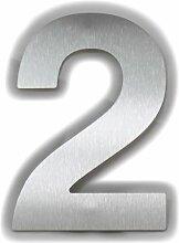 Große Thorwa® Design Edelstahl Hausnummer 2, fein gebürstet, inkl. Montagematerial / H: 200mm / Farbe: silber
