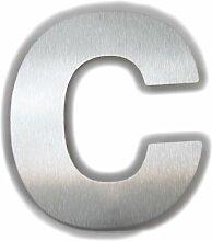 Große Thorwa® Design Edelstahl Hausnummer c, fein gebürstet, inkl. Montagematerial / H: 200mm / Farbe: silber