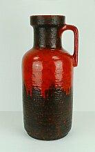 Große Vintage Vase mit Roter Tropfenglasur von