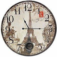 Grosse Wanduhr mit Pendel Eiffelturm Paris