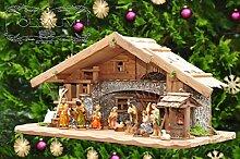 Große Weihnachtskrippe, mit Brunnen + Dekor, ca.