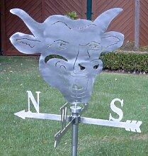 Große Wetterfahne Bullenkopf aus Edelstahl (Wetterhahn)