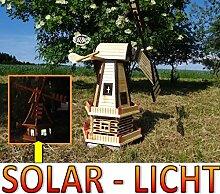 Große windmühle, Gartenwindmühle 130 cm, zweistöckig 2 Balkone aus Holz, Gartendeko Terrasse windmühlen mit Seitenruder/Windfahne, komplett mit Solar, Solarbeleuchtung DOPPEL-SOLAR LICHT WMH130du-MS 1,30 m groß dunkelbraun braun