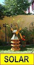 Große Windmühle, wetterfest,robust mit Bitumen, MIT WINDFAHNE Windrad-Seitenruder, dreistöckig, WMBR-K160gr-MS ,Windmühlen mit Licht, Windmühlen Garten, mit Solarbeleuchtung, MIT SOLAR, für Außen 1,60 m groß grün grau