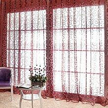 Großen Haken Beflockung unelastisch Licht Durchlässigkeit PP Fasern Jalousien vertikal Polyester Tüll Vorhänge Fenster screening, 100 * 200cm, 1 Tafel , wine red