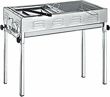 Großer Barbecue-Grill aus Edelstahl, Grill- und
