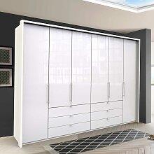 Großer Falttürenschrank in Weiß sechs Schubladen