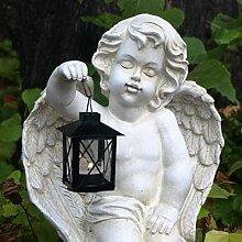 Großer Grabschmuck Engel kniend mit Laterne in Hand. Höhe 35cm