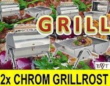 Großer Grill + doppelter Rost Grillrost 2 x NEU Grillkamin Kamingrill Steingrill