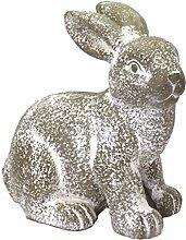 großer Hase MALTE - Indoor & Outdoor - 38 cm - Grau - sitzend - Gartendeko - Figur