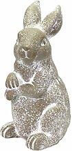 großer Hase MALTE - Indoor & Outdoor - 47 cm - Grau - stehend - Gartendeko