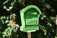 Großer HBK-RD-GRASGRÜN Holz-Briefkasten,