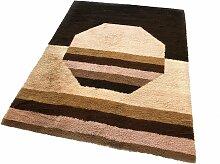 Großer hochfloriger Vintage Teppich in kubischer