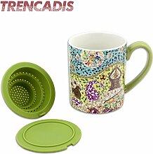 Großer Keramikbecher für Tee und Infusion mit Silikondeckel und Filter, Modernes Design Inspiriert von der Trencadis Technik, Maße 11 x 9 cm, Gaudi Kollektion