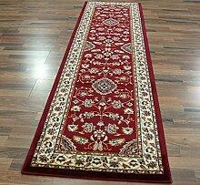 Großer klassischer Orient Perser Design Teppich, Läufer, Blumenmuster, traditionell, Rot, 60 x 230 cm