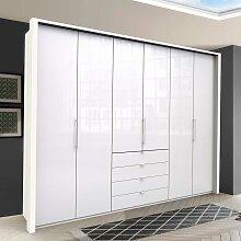 Großer Kleiderschrank in Weiß Glas beschichtet