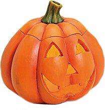 Großer Kürbis Windlicht aus Keramik - Dekoration Halloween, Herbst - Türkürbis