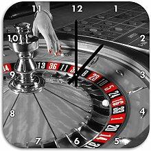 großer Roulette Tisch schwarz/weiß, Wanduhr Quadratisch Durchmesser 48cm mit schwarzen spitzen Zeigern und Ziffernblatt, Dekoartikel, Designuhr, Aluverbund sehr schön für Wohnzimmer, Kinderzimmer, Arbeitszimmer